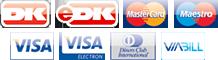 Dankort, eDankort, Mastercard, Maestro, Visa, Visa Electron, Diners Club og iBill Flex