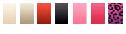 Hvid, champange, rød, sort, pink, lysserød og pink leopard